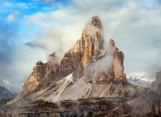 Morning view of Drei Zinnen or Tre Cime di Lavaredo