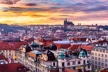 Prague at sunset, panoramic view, image of Prague, capital city of Czech Republic