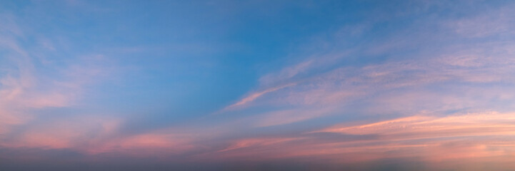 Vibrant panoramic sky on twilight time.