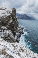 Winter sea landscape. View from the cliff of the coast in Balakl