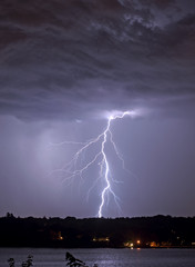 Lightning strike over Hempstead Bay, NY.