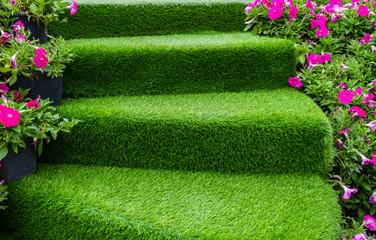 staircase green artificial grass