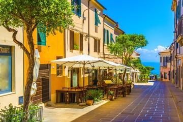 Street of Capoliveri village in Elba island, Tuscany, Italy, Europe.