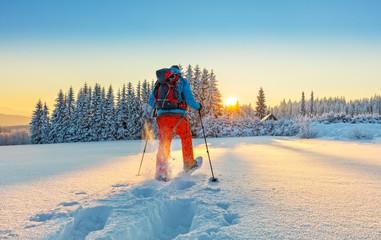 Snowshoe walker running in powder snow