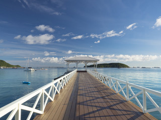 Asdang white wooden bridge sea, monument of Sichang island