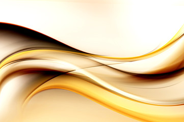 Brown bright waves art. Blurred effect background. Abstract creative graphic design. Decorative fractal style.