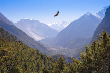 Himalaya Mountains landscape. Annapurna Himal on Annapurna Circuit Trek, Upper Pisang and Lower Pisang Villages, river valley and Deamon Hill Pangri Danda (4666m) in Nepal, Asia