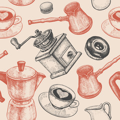 Seamless pattern is all about coffee.