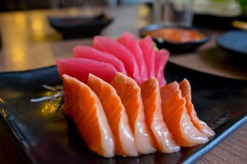 sashimi raw fish japanese food.(Selective focus)