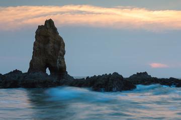 Natural sea rock on the coastline, natural landscape background