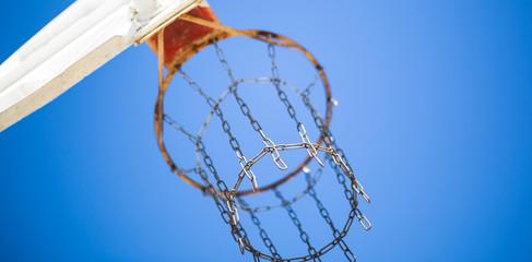 Basketball Backboard-RIm-from below