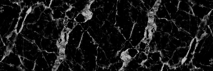 horizontal black and white marble texture for pattern and backgr