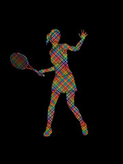 Woman tennis player action designed using colorful pixels graphic vector.