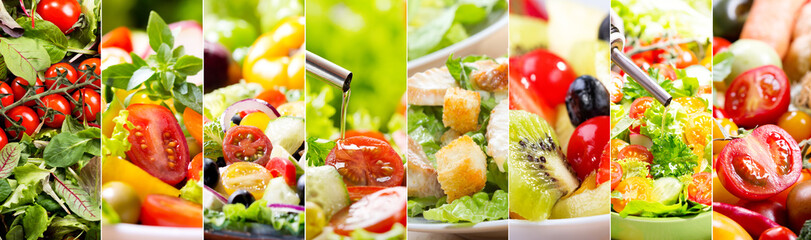 collage of various salad