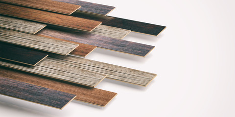 Laminate floor on white background. 3d illustration