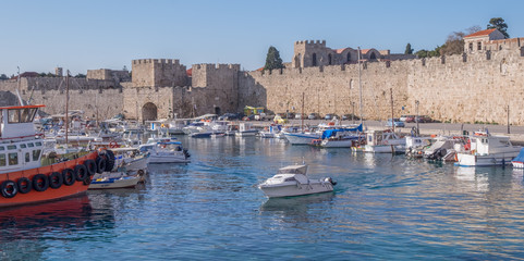 Walls of ancient medieval city at Rhodes, Greece