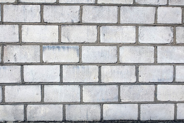 silicate white brick wall with grey gray seam