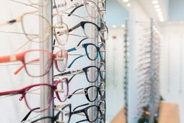 Row of eyeglass at an opticians store