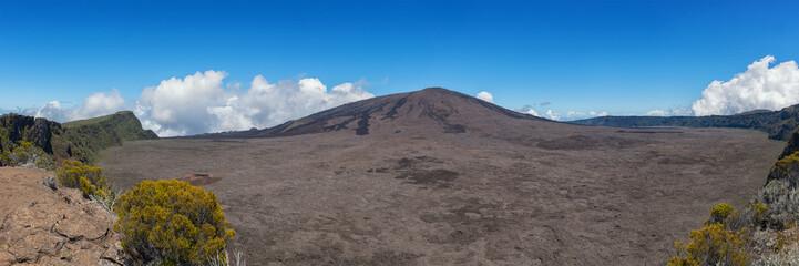 le piton de la fournaise, réunion island : inside the enclosire of the volcano, panoramic view.