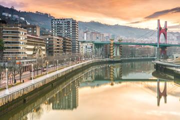 sunrise at bilbao riverbank, Spain