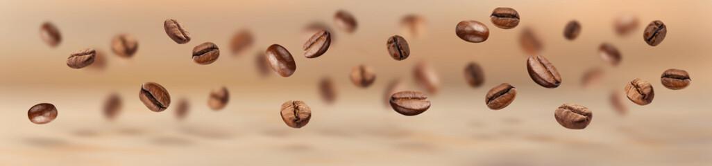 Latający ziaren kawy poziomy baner