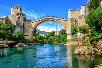 Old Bridge and Mosque in the Old Town of Mostar, Bosnia