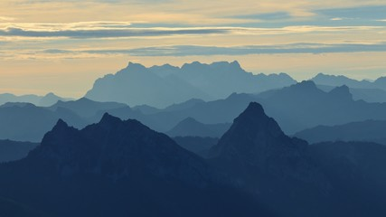 Mount Mythen and other mountains at sunrise