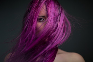 portrait attractive girl with violet hair