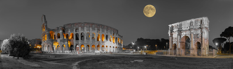 Rom Colosseum und  Konstantinsbogen sw col Panorama