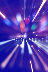 Abstract image of night lights in motion blur.