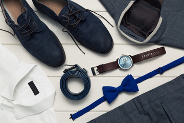 collection of men's fashion clothes and accessories. top view