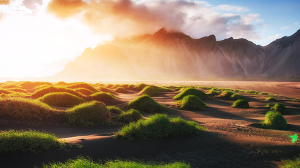 Magic sunset on a sandy beach. Beauty world. Turkey