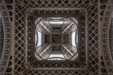 Eiffel tower bottom view industrial background