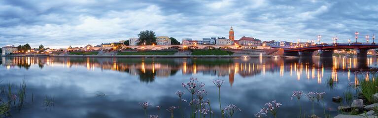 Evening panorama of Gorzow Wielkopolski with blue sky, Poland