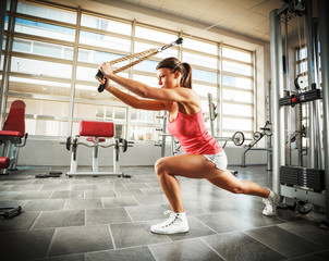Young female with sport body doing workout at the gym.She working on her triceps.