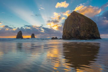 Dramatic sunset over haystack rock