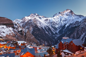 Ski resort Les deux alps in French Alps at night
