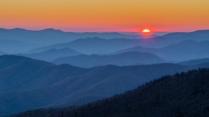 Scenic sunset, Great Smoky Mountains, Tennessee