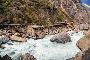 Tiger Leaping Gorge ,deepest mountain hole in world, in Lijiang, Yunnan Province, China.