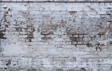 Grunge white brick wall texture, background with copy space