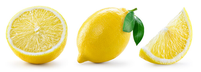 Lemon with leaf isolated on white background. Collection