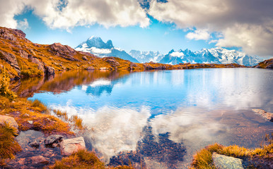 Colorful autumn morning on the Lac Blanc lake with Mont Blanc (Monte Bianco) on background