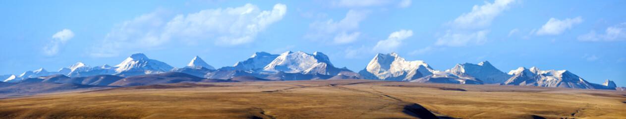 The Himalaya Mountains panorama 5000 meters high in Tibet