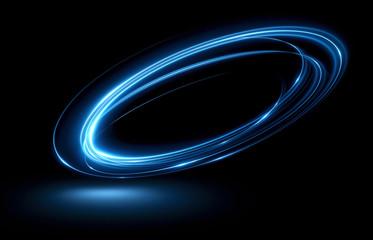 Efekt blasku. Błyszcząca wstążka. Streszczenie obrotowe linie graniczne. Energia Taśma odblaskowa LED. Luminous świecące neony kosmiczne streszczenie ramki. Okrągły wir o magicznym designie. Efekt szlaku wirowego.