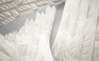 Empty abstract concrete room interior. Architectural background consisting of a pyramids.  3D illustration and rendering