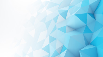 Blue white gradient polygonal surface abstract 3D render