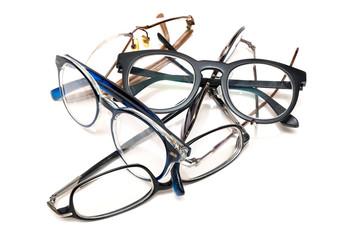 group of unused old eyeglasses