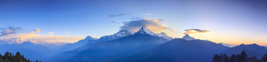 Annapurna mountain range and panorama sunrise view from Poonhill, famous trekking destination in Nepal.