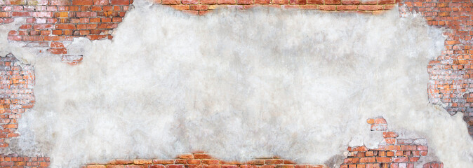 wall with peeling plaster, grunge background for design