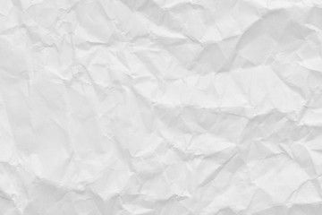 White crumpled paper background and texture, Wrinkled creased paper white abstract